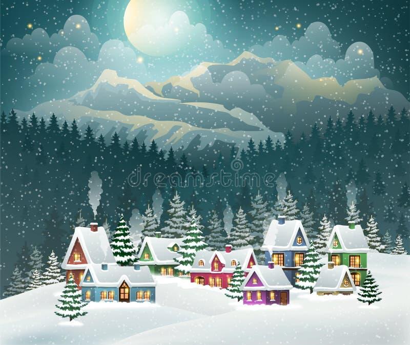 Деревня и горы зимы рождества иллюстрация вектора