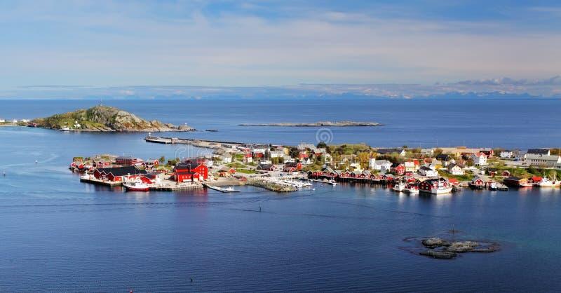 Деревня Норвегии в море, Lofoten стоковое фото rf