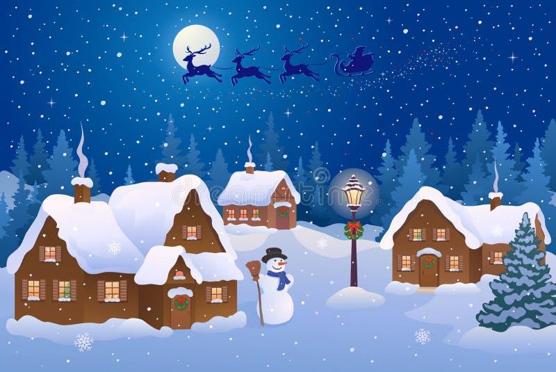 Деревня ночи рождества иллюстрация вектора