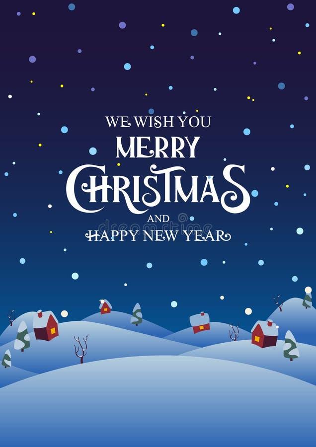 Деревня ночи Snowy с рождеством текста веселым и С Новым Годом! стоковое фото