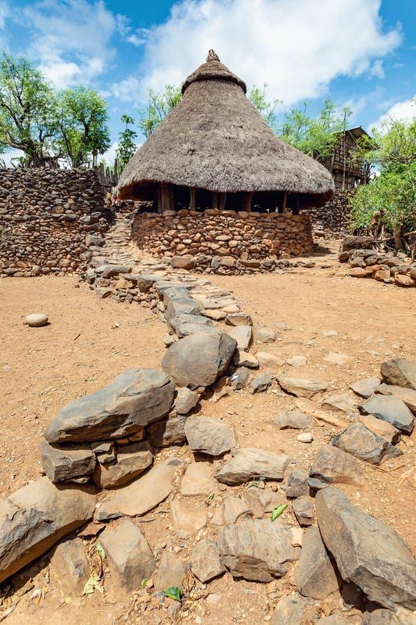 Деревня племени Konso в карате Konso, Эфиопии стоковые изображения rf