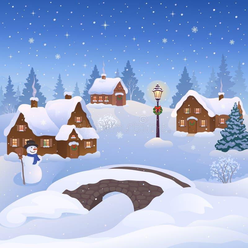Деревня рождества иллюстрация вектора
