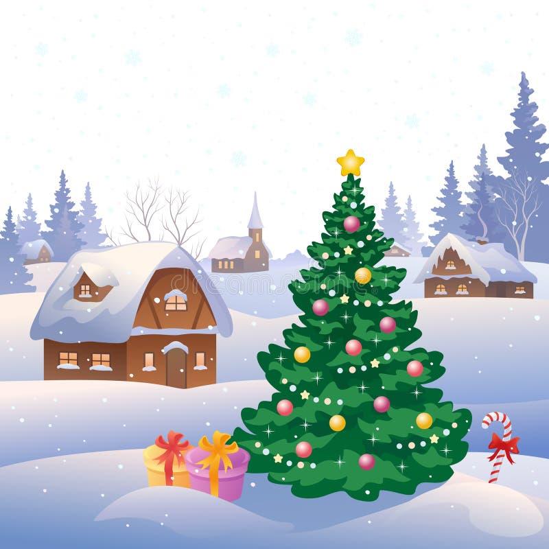 Деревня рождества иллюстрация штока
