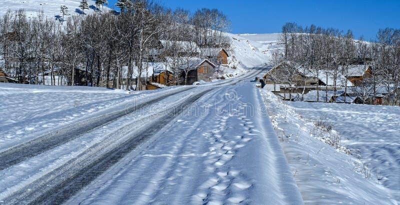 Деревня снега стоковые изображения rf