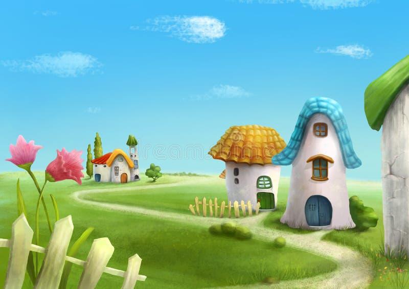 Деревня страны страны чудес fairy ландшафт иллюстрация вектора