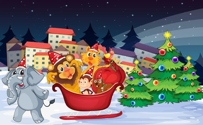 Деревня с шаловливыми животными около рождественских елок иллюстрация штока