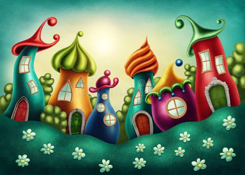 Деревня фантазии иллюстрация штока
