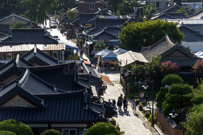 Деревня Чонджу Hanok, популярная достопримечательность с корейскими традиционными домами в Южной Корее стоковые изображения rf