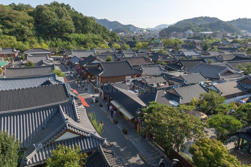 Деревня Чонджу Hanok, популярная достопримечательность с корейскими традиционными домами в Южной Корее стоковые изображения