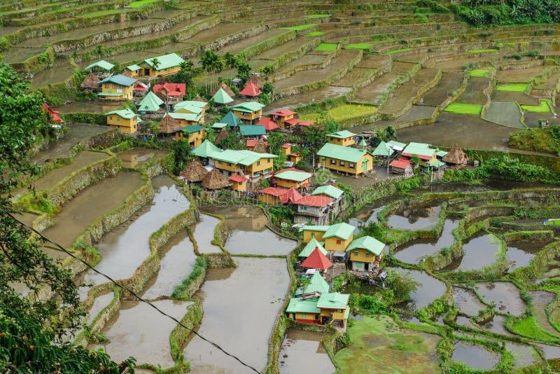 Деревня Batad назначения декабря 31,2017 a известная туристская стоковая фотография