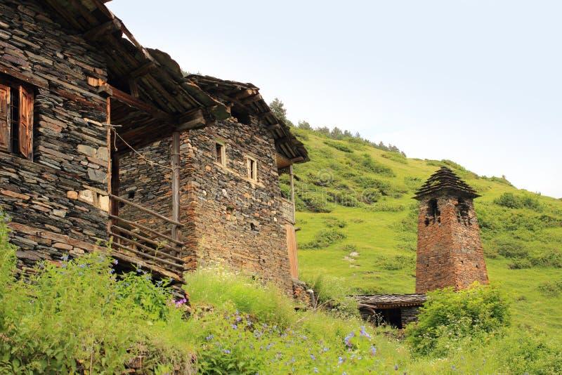 Деревня Dartlo Зона Tusheti (Georgia) стоковые изображения