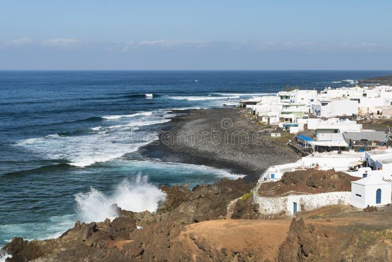 Деревня El Golfo в Лансароте, Испании стоковые изображения rf