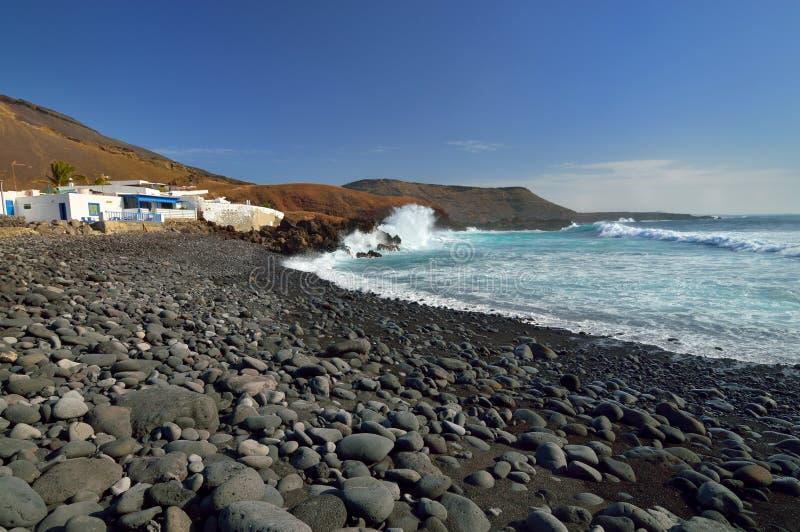 Деревня El Golfo, Канарские острова Лансароте стоковые изображения