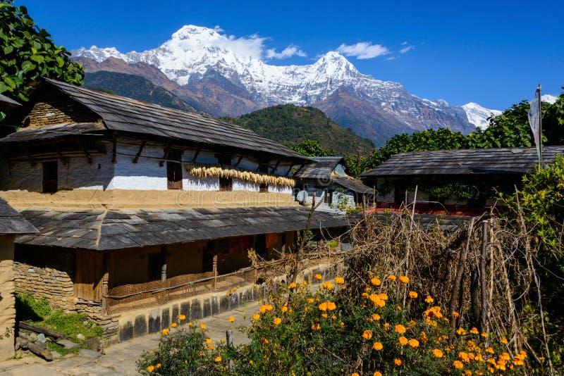 Деревня Ghandruk в зоне Annapurna стоковые изображения rf
