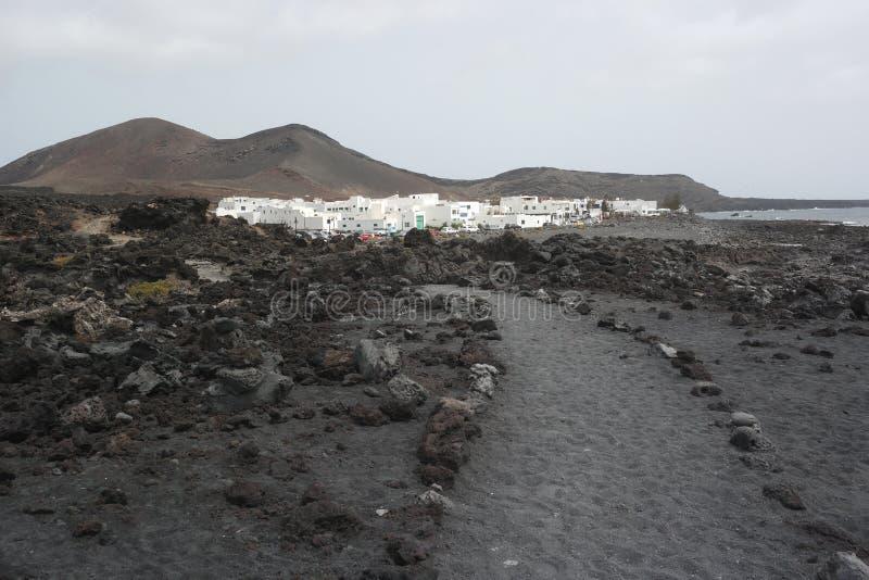 Деревня golfo El, Лансароте, острова canaria стоковое фото rf