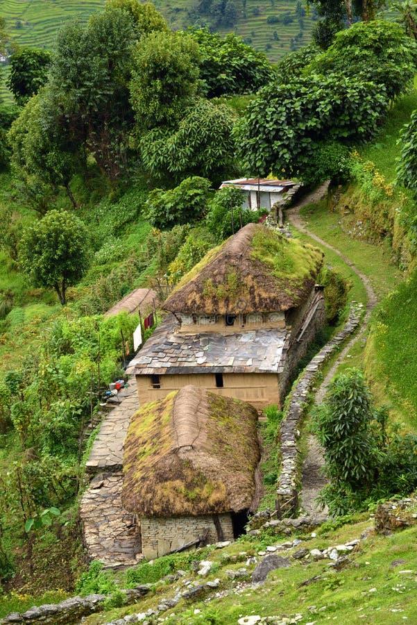 Деревня gurung в следе святилища Annapurna. Гималаи, Ne стоковые изображения rf