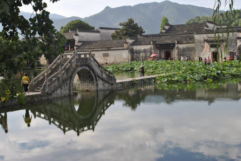 Деревня Hongcun в Аньхое, Китае - старом мосте стоковая фотография rf