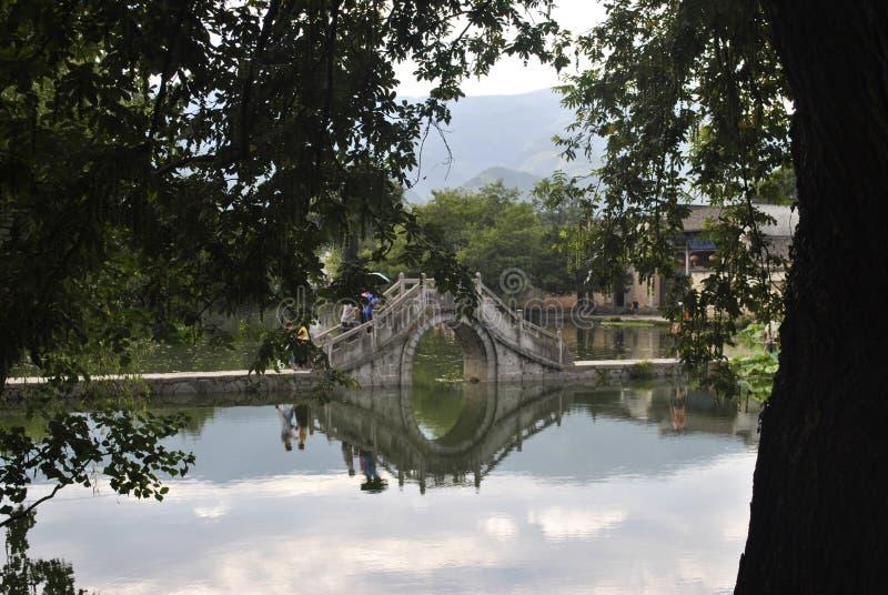 Деревня Hongcun в Аньхое, Китае - старом мосте стоковые фотографии rf