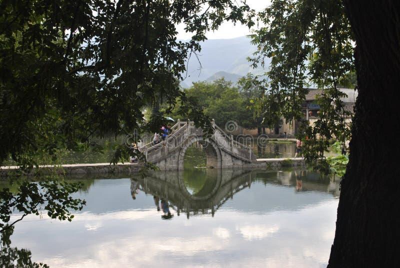 Деревня Hongcun в Аньхое, Китае - старом мосте стоковое изображение rf