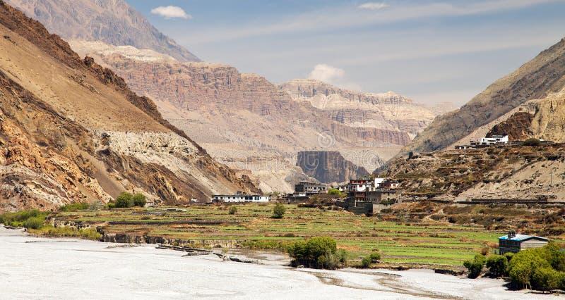 Деревня Kagbeni - более низкий мустанг - Kali Gandaki стоковые изображения