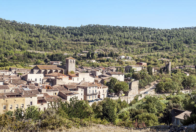 Деревня Lagrasse стоковая фотография