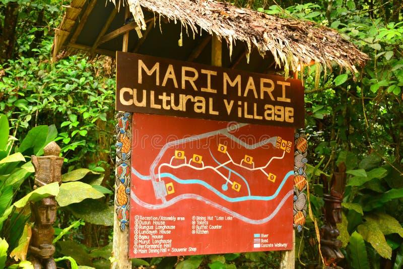 Деревня Mari Mari культурная подписывает внутри Сабах, Малайзию стоковое изображение