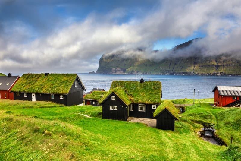 Деревня Mikladalur, Фарерских островов, Дании стоковые фотографии rf
