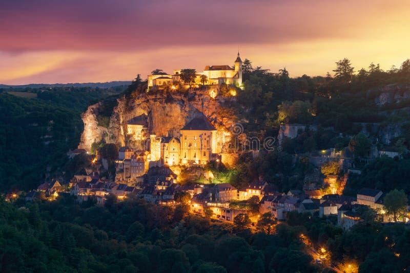 Деревня Rocamadour в отделе серии, Франция стоковые изображения rf