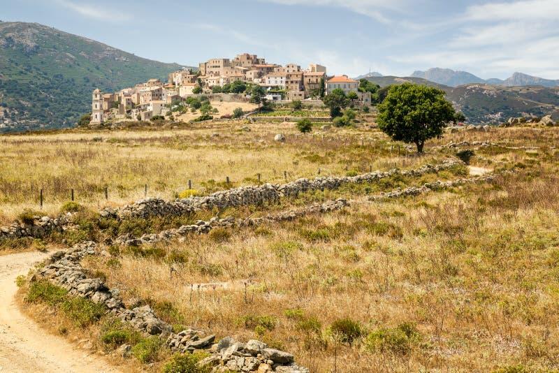Деревня Sant'Antonino в зоне Balagne Корсики стоковое фото rf