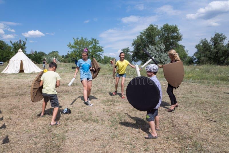 Деревня Vesele, Нова Kakhovka, Украина, 9-ое июля 2018, стоковое изображение