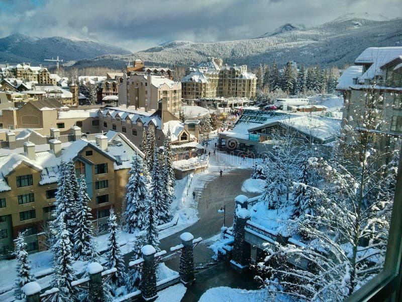 Деревня Whistler в зиме стоковое изображение