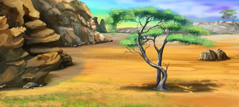 Дерево акации около скалистых гор в летнем дне иллюстрация вектора