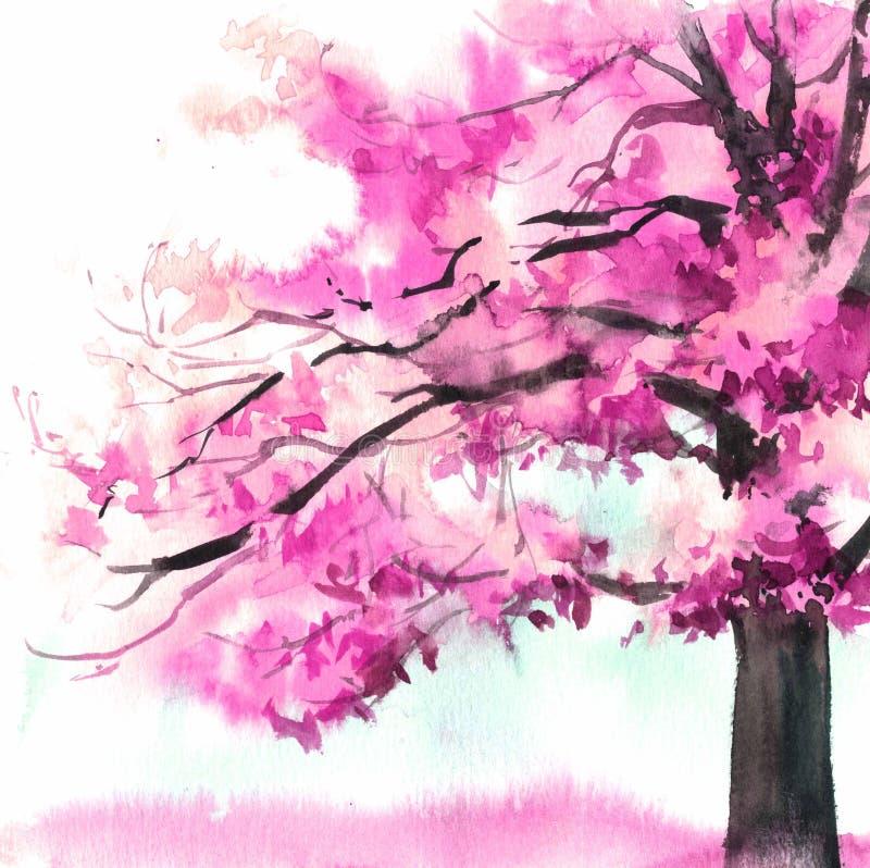 Дерево акварели красивое пурпурное Иллюстрация руки вычерченная розовая для карты, открытки, крышки, приглашения, ткани стоковая фотография rf