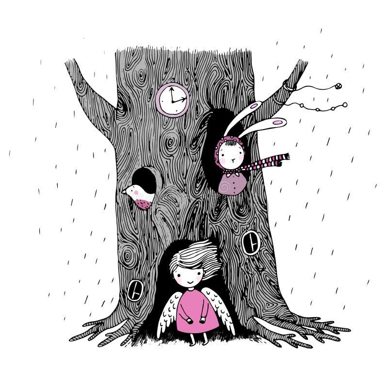 Дерево, ангел, полость, вахта, зайчик и птица бесплатная иллюстрация