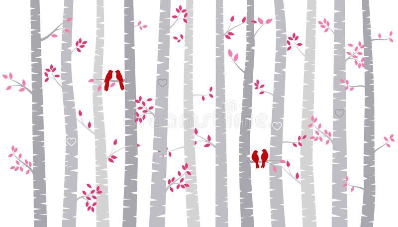 Дерево березы дня ` s валентинки или силуэты Aspen с неразлучниками бесплатная иллюстрация