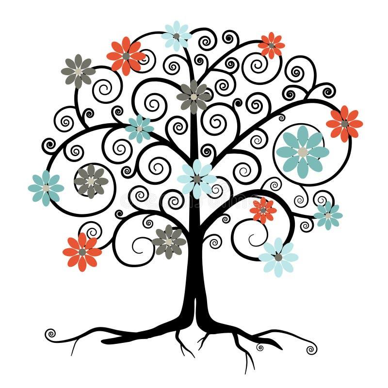 Дерево вектора в цветении бесплатная иллюстрация