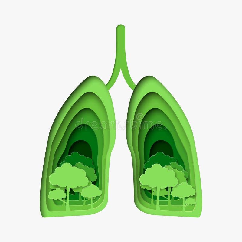 Дерево в зеленых здоровых легких абстрактная иллюстрация отрезка бумаги Шаблон вектора в высекать стиль искусства изображения эко бесплатная иллюстрация