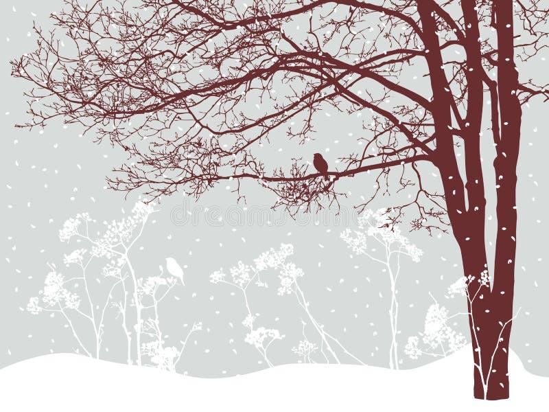 Дерево в снежном дне иллюстрация штока