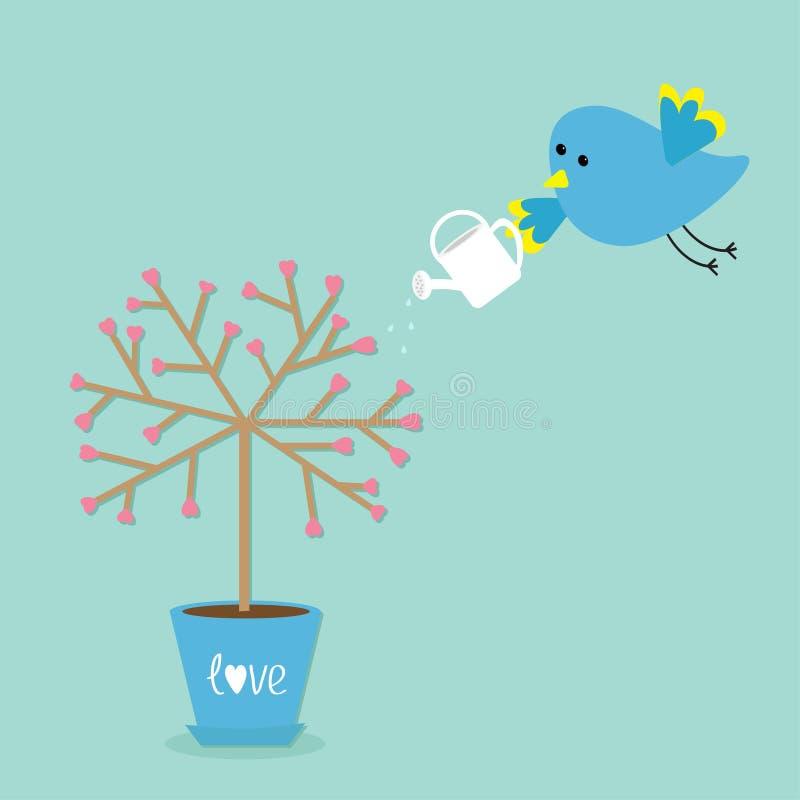 Дерево влюбленности в баке Цветок сердца Птица с моча чонсервной банкой Предпосылка сини влюбленности слова Плоский дизайн бесплатная иллюстрация