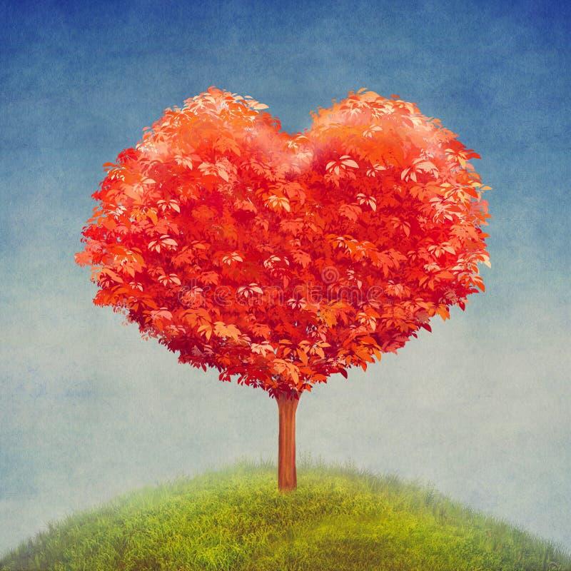 Дерево влюбленности в поле, предпосылке дня валентинок иллюстрация вектора