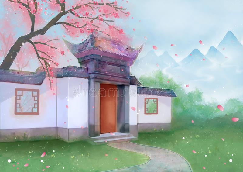 Дерево горы весны здания китайского стиля иллюстрация штока