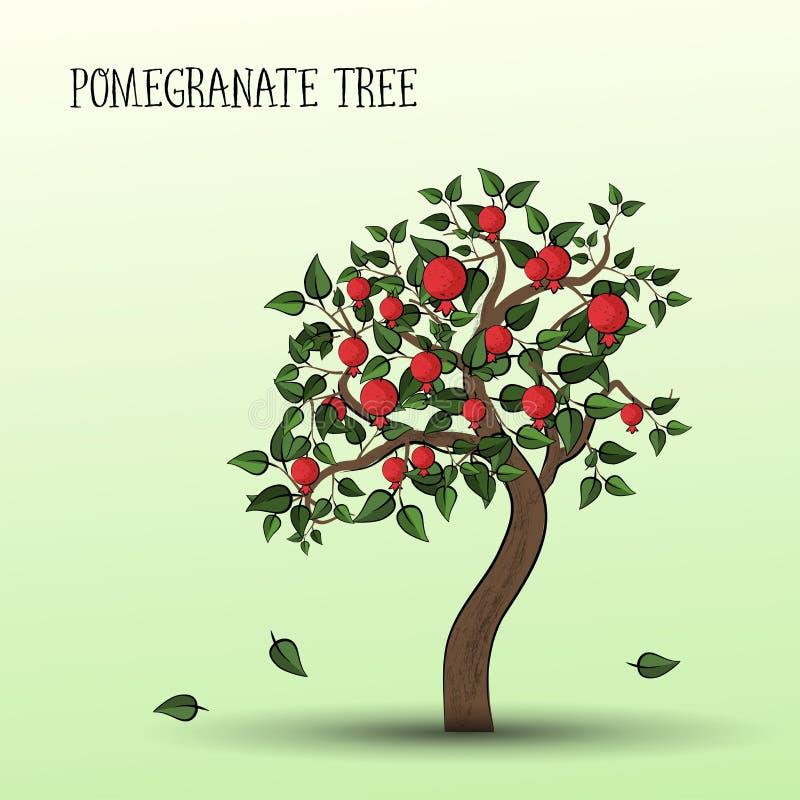 Дерево гранатового дерева иллюстрация штока