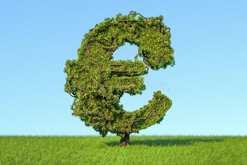 Дерево денег в форме знака евро на agains зеленой травы иллюстрация штока
