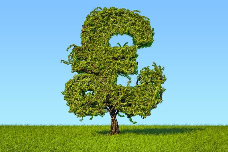 Дерево денег в форме символа фунта стерлинга на зеленом цвете иллюстрация вектора