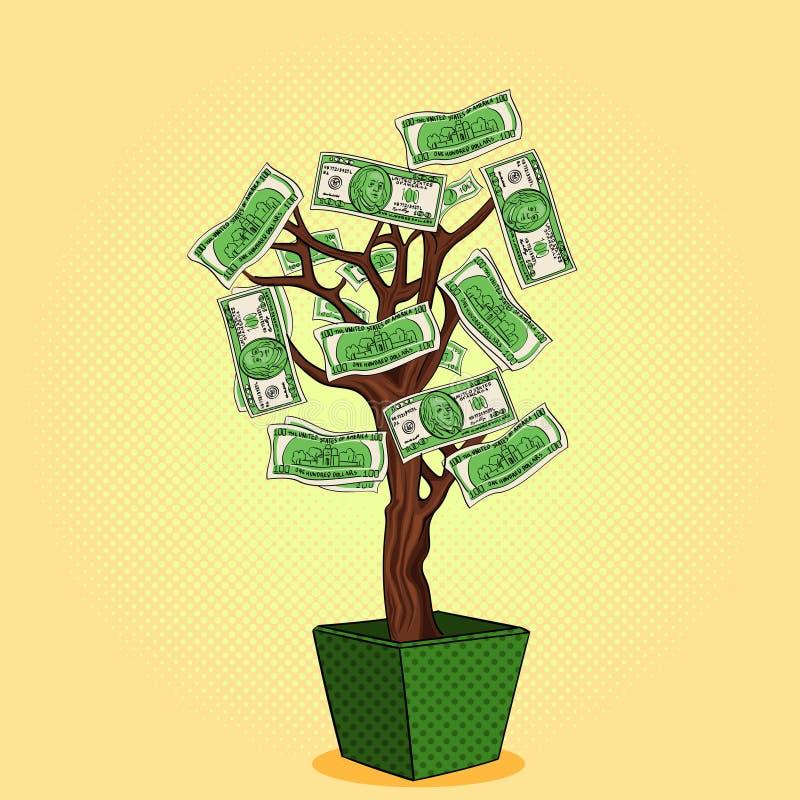 Дерево денег с 100 долларами Валюта на заводе Дело растет Вектор объекта искусства шипучки иллюстрация вектора