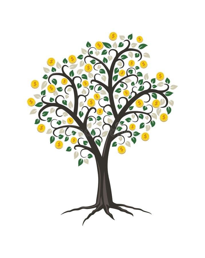 Дерево денег с золотыми монетками иллюстрация вектора