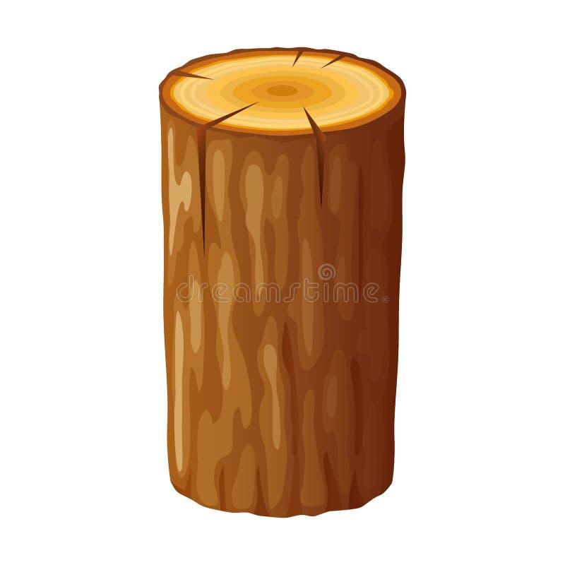 Дерево, деревянный пень с кольцами Отрежьте деревья, изолированные на белой предпосылке иллюстрация штока