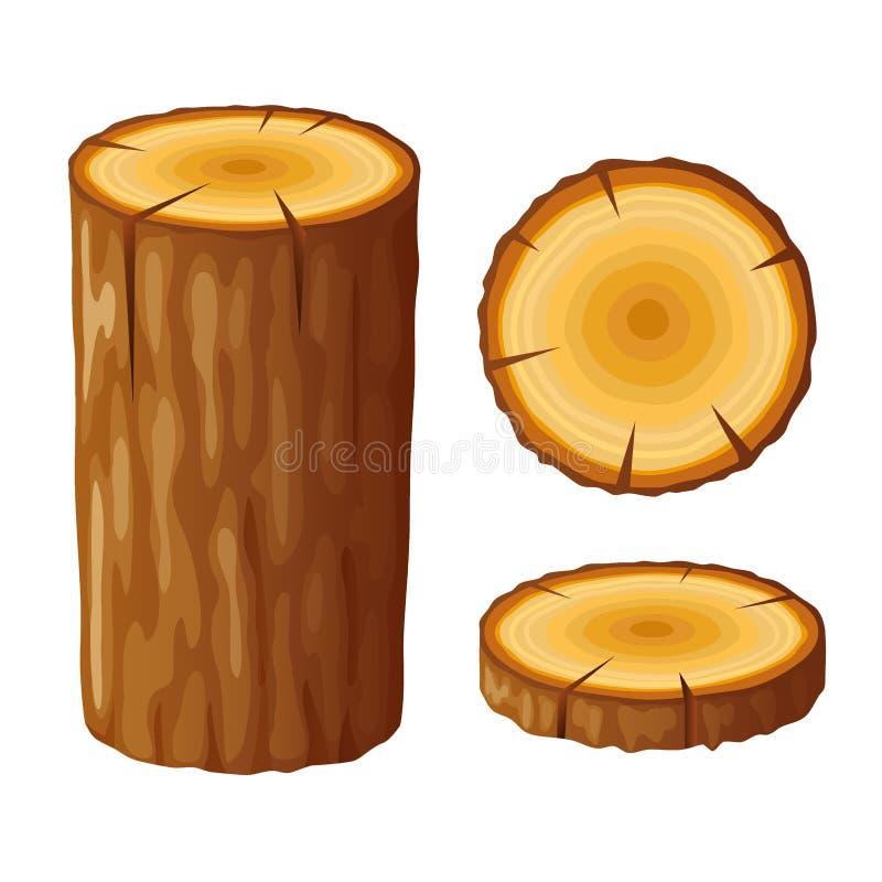 Дерево, деревянный пень с кольцами Отрежьте деревья, изолированные на белой предпосылке бесплатная иллюстрация
