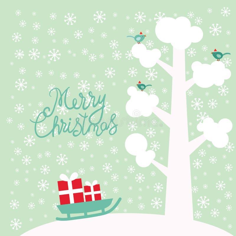 Дерево дизайна карты Нового Года веселого рождества с белым снегом на ветвях, птицы, снежинки и звезды, сани с подарками на sk иллюстрация штока
