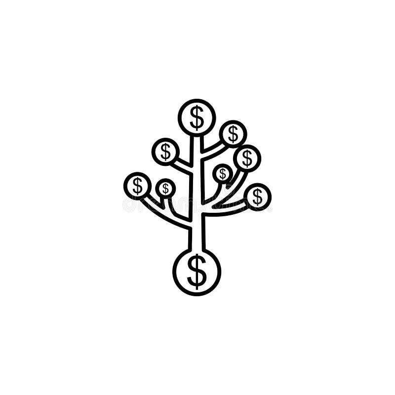 Дерево, доллары значка Элемент иллюстрации финансов Знаки и значок символов можно использовать для сети, логотипа, мобильного при бесплатная иллюстрация
